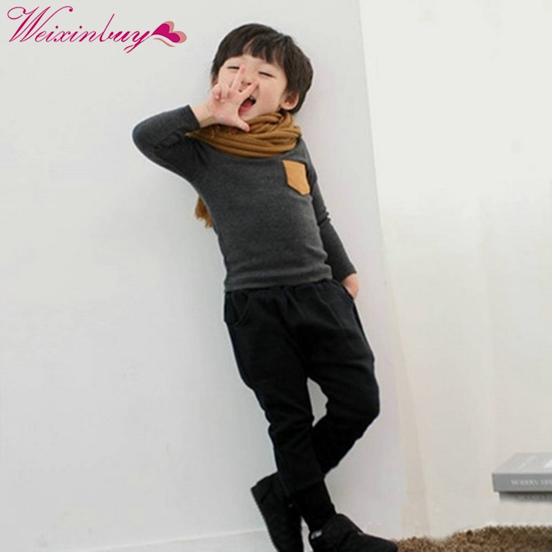 Spring Baby Kids Long Sleeve Crewneck T-shirt Pocket Decor Boy Girl Shirt Clothes 2-7 Y