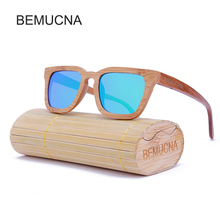 2017 New BEMUCNA Wood Sunglasses Men/Women Wood Handmade 100% bamboo Oversized Retro Sun glasses with Case Mading LOGO For Free