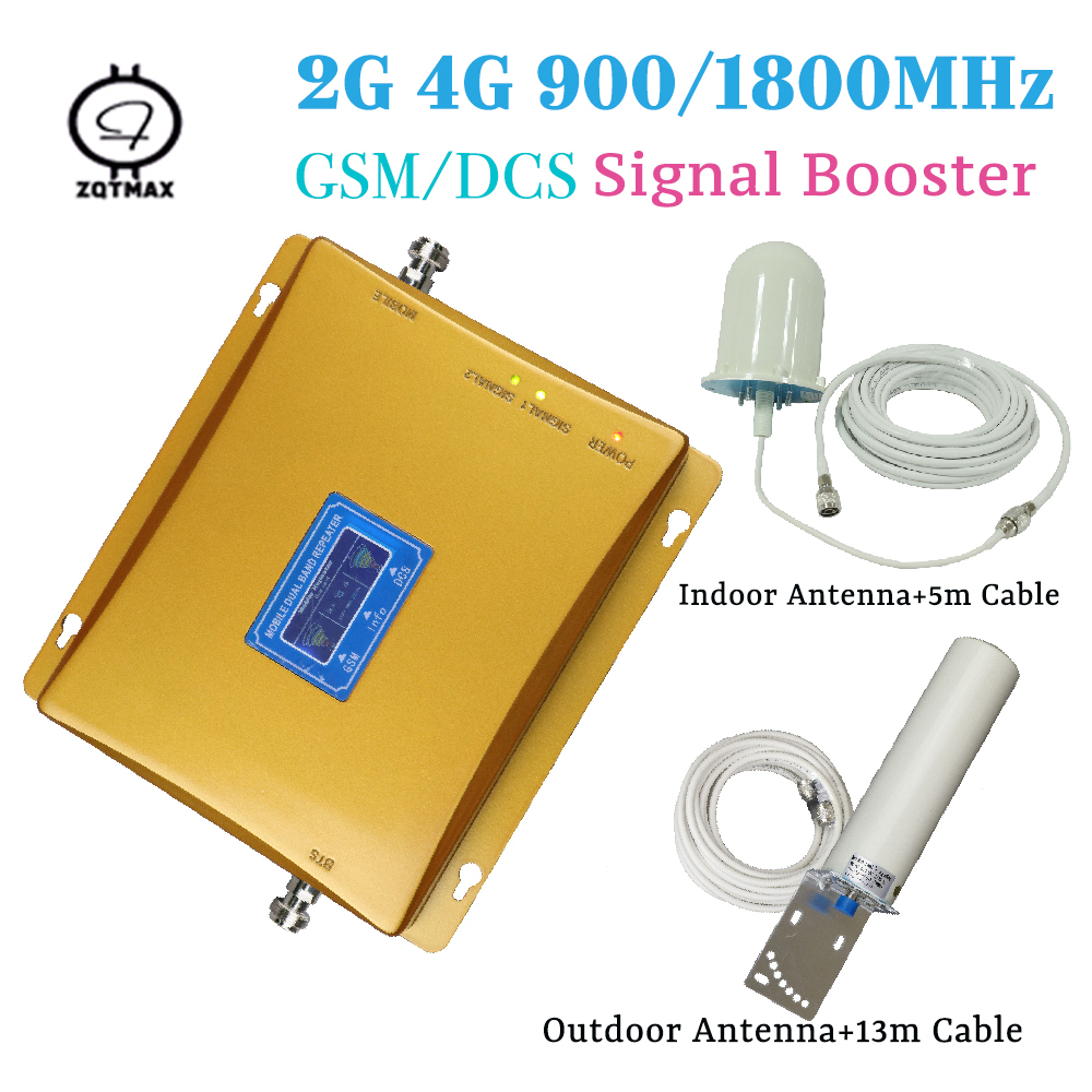 2G 4G Signal Repeater GSM 2G 900mhz And LTE 4G 1800mhz 70dB Gain Dual Band Booster 4g Repetidor De Sinal Cellular Sets For Home