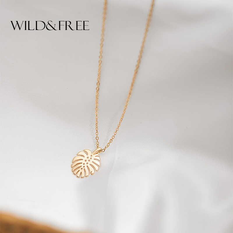 Sauvage et gratuit Tropical feuilles de palmier collier hawaïen feuille pendentif collier pour les femmes Boho tour de cou à breloque Pendientes plage bijoux
