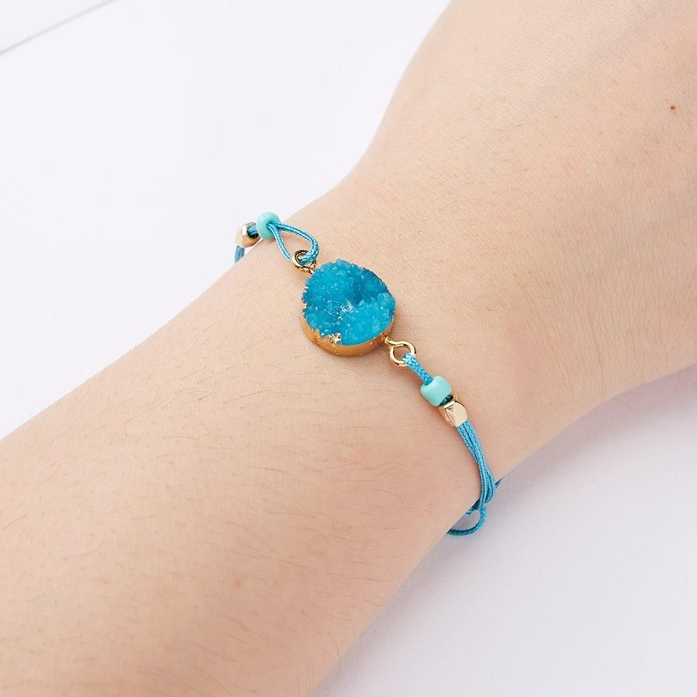 Rinhoo загадать пожелание Красочный натуральный камень тканый бумажный браслет карта Регулируемый счастливый красный String браслеты Femme модные ювелирные изделия