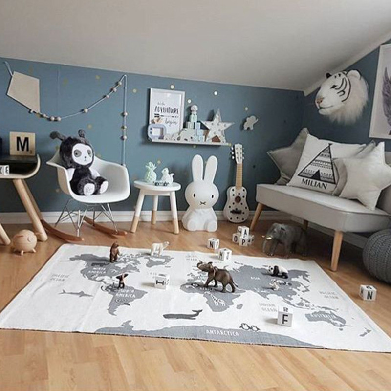 Kids Playing Mats Crawling Rugs World Map Blanket Educational Baby Play Mat Room Decoration Floor Decor
