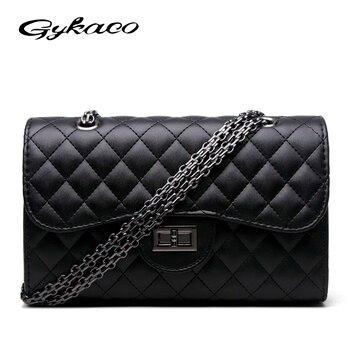 b6ae561c4 Gykaeo marca lujo mano Bolsas mujeres Bolsas diseñador pequeño Cadenas bolso  a cuadros señoras de cuero casual mensajero Bolsas SAC a principal