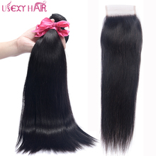 USEXY HAIR Straight Malaysian Hair With Closure Swiss Lace Free/Middle Part 100% Non Remy Human Hair Weave 3 Bundles No Tangle