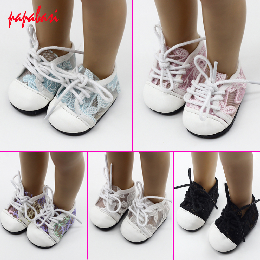 1Pair Doll Lace Sports Shoes For 18 American Girl Dolls Rose Red Glitter Shoes Doll Accessories