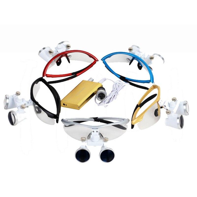 Lupas dentales, gafas con lentes de aumento de 3,5 X y 420 mm para cirugías, equipos dentales, lupas de cirugía para dentistas con lámpara LED de cabeza. - 4