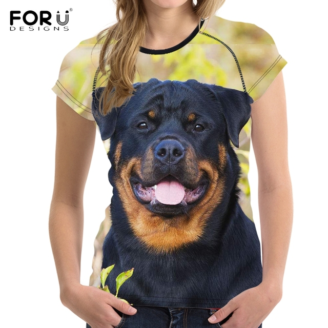 Forudesigns Cute 3d Dog Rottweiler Print Women T Shirt Vogue Summer