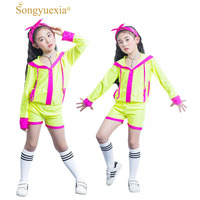 Songyuexia Children Hip Hop Clothing Girl Stage dancewear Suit Children Show fluorescence with cap Jazz dance Costumes for Kid
