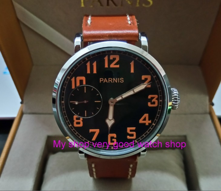 46mm parnis Black dial Asian 6497 17 jewels Mechanical Hand Wind movement men watch luminous Mechanical watches zdgd190a
