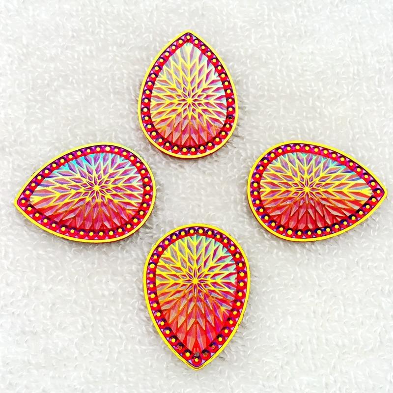 8pcs AB resin 30*40mm flower drop Flatback rhinestone 2 hole wedding DIY buttons