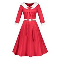 Sisjuly Vintage Dresses Autumn Women Bow Sashes A Line Turn Down Collar Long Sleeves Elegant Female