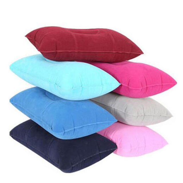 Portable Pillow Travel Air Cushion Inflatable Double Sided Flocking Cushion Camp Beach Car Plane Hotel Head Rest Bed Sleep