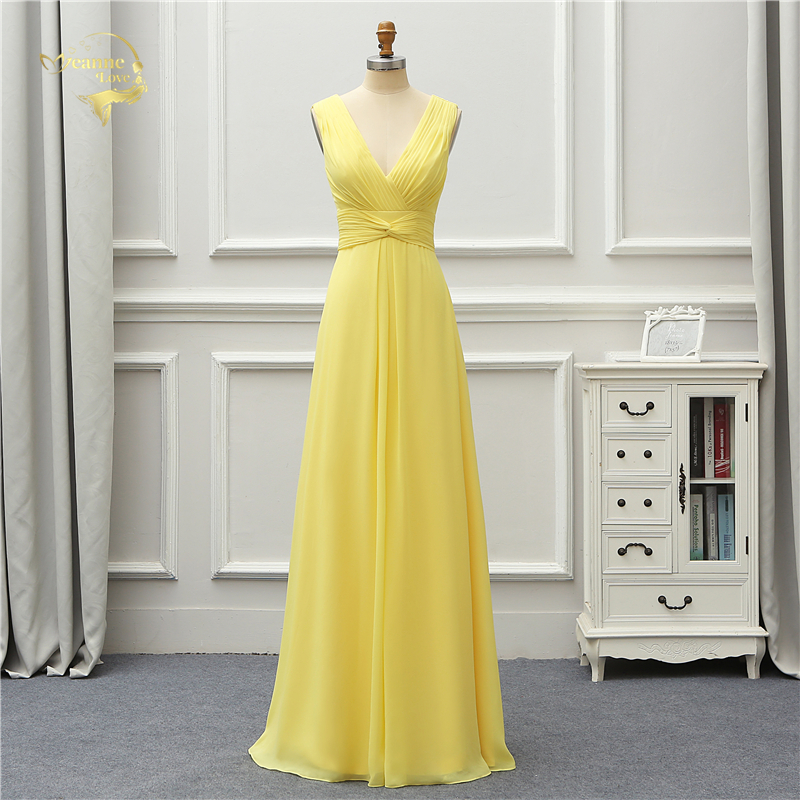 Jeanne Love Formal Luxury Long Evening Dress 2019 New Arrival V Neck Sexy Yellow Party Robe