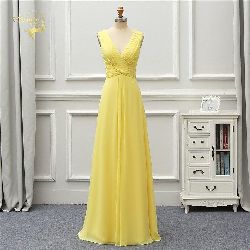 Jeanne Love Formal Luxury Long   Evening     Dress   2019 New Arrival V Neck Sexy Yellow Party Robe De Soiree Vestido De Festa OL5229