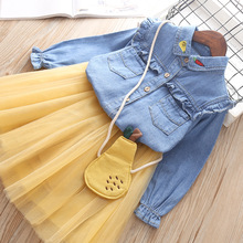 Baby girls clothes set suit Tutu Short Skirt + Denim T-shirt + bag 3pieces Children outfits Kids 4 years Cotton Costume For Girl цена