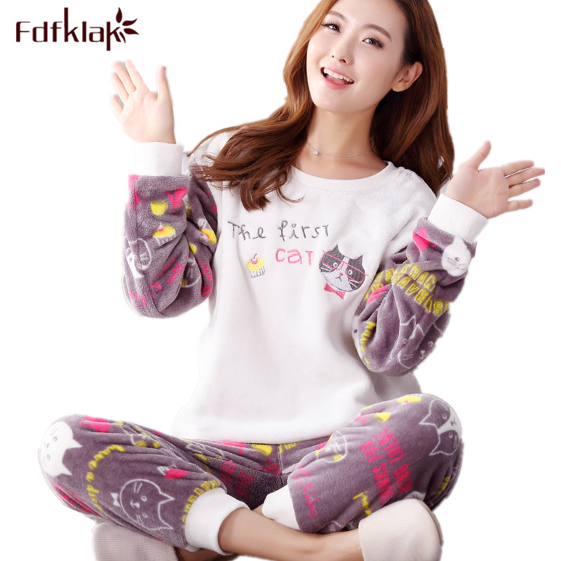 Fdfklak Winter Pijama Woman Flannel Pajamas Sleeping Clothes Pijamas De Mujer Thicker Women's Warm Pajamas Sleepwear Sets Q543