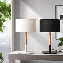 Modern Led Table Lamp Wooden base 1 light book lights Warming Bedside Lamp Minimalist Desk Lamp Night Light Cloth Lampshade