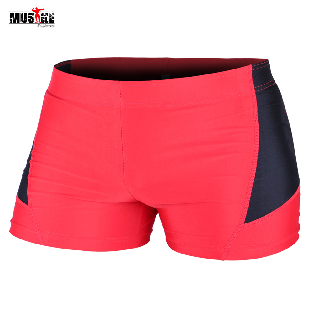 MUSCLE ALIVE Bodybuilding Shorts Men Slim Fit Compression Short Pants Gyms Clothing Workout For Men's Spandex Polyester Size XL