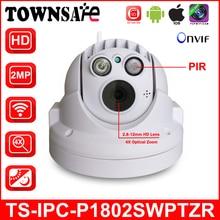 TOWNSAFE TS-IPC-P1802SWPTZR Full HD 1080P Wireless Wifi Mini PTZ Dome IP Camera 4X Optical Zoom Support PIR Built-in 32GB Card