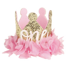 2019 New Princess Baby Girl 1/2st Birthday Party Hat Flower Crown Party Headband Hairband Hair Accessories For Photography Props