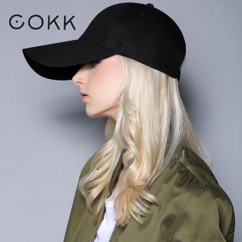 COKK Baseball Caps Womens Hat Mens Snapback Blank Black Baseball Cap For Women men Long Wide Brim Sun Visor Sunscreen Casquette
