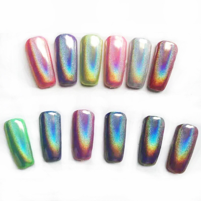 6 Set Holographic Laser Powder Nail Glitter Dust Rainbow Pigment ...