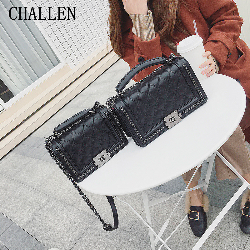 Fashion New Lingge Chain Bag Women's Handbag 2018 Brand High Quality Leather Wild Diagonal Package Small Square Bag Shoulder Bag foxer 2016 new high end luxury fashion leather handbag shoulder diagonal package of 100