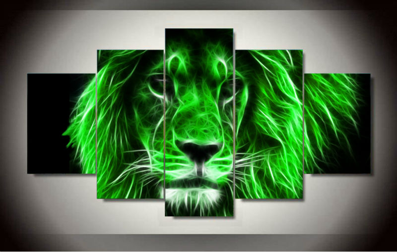 unframed canvas art cool green lion painting home decoration wall