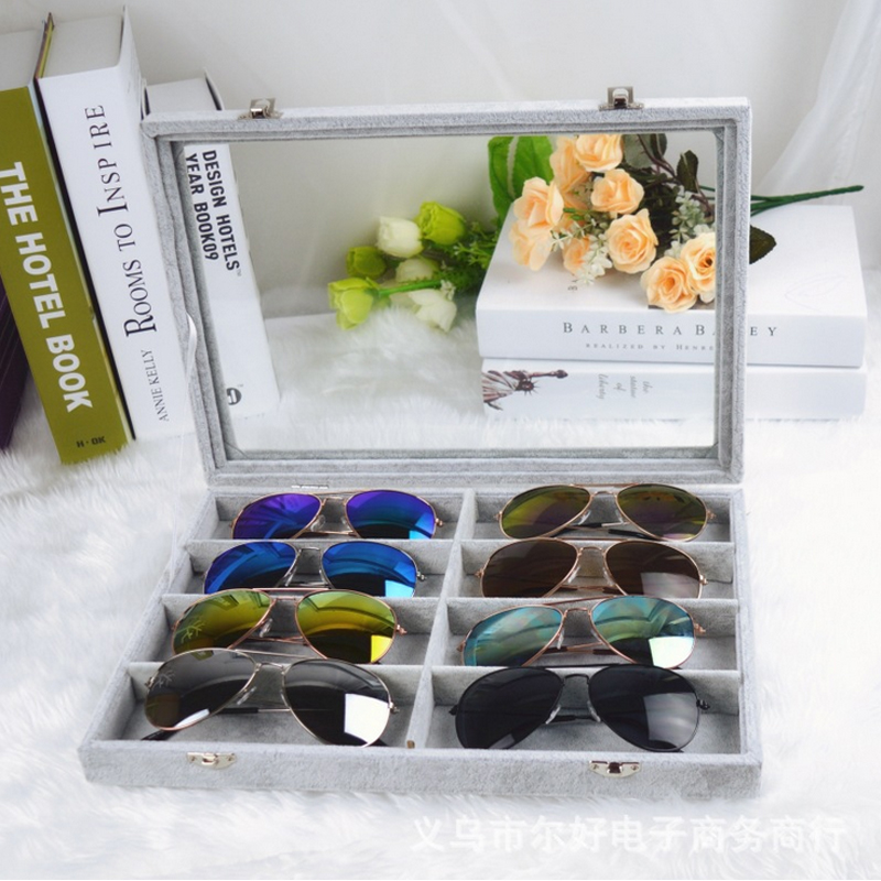Glasses Display Box With Lock Linen/Velvet High Quality Eyeglasses Holders Fashion Myopia Glasses Jewelry Storage Box sgggg1137 fashion glasses with box