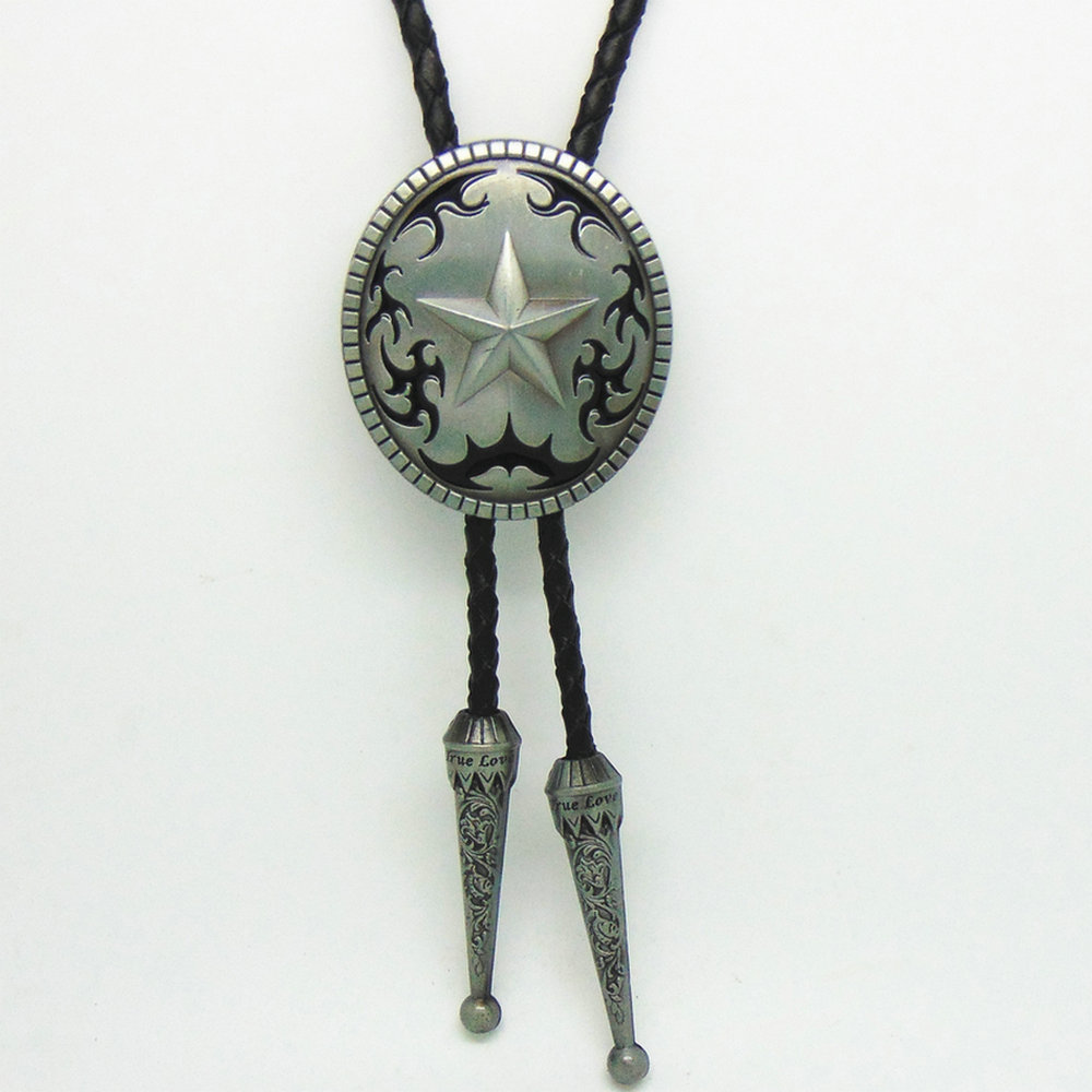 Western Cowboy Bolo Ties For Men Vintage Style Star Metal Zinc Alloy Necklace Fashion Jewelry Leather Rope Bow Tie