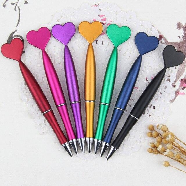 60 قطعة Kawaii قلم حبر جاف لامع الملمس البلاستيك القلب رولربال أقلام للمدرسة اللوازم المكتبية القرطاسية متعة الاشياء المكتبية