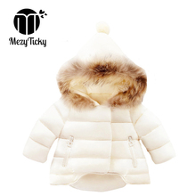 цена на Winter Baby Girls Jackets Kids Hairball Hooded wadded jacket Children Down Outerwear Keep Warm Cotton Thicken clothes Boys Coat