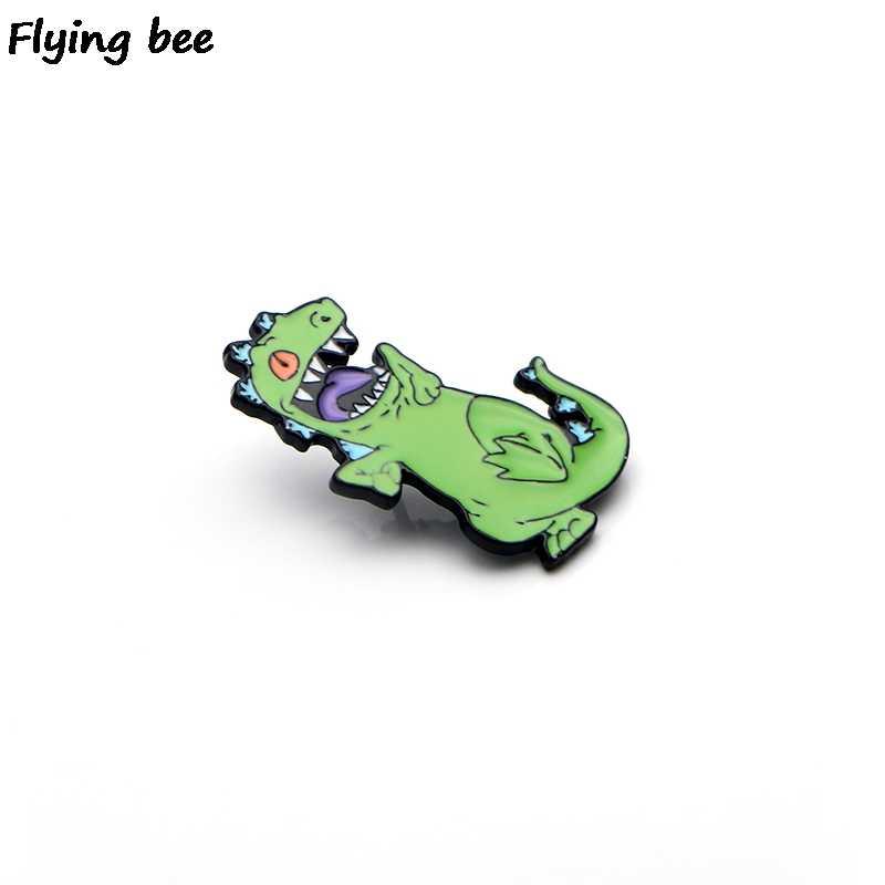 Flyingbee Dinosaurus Enamel Pin Tas Ransel Lencana Kepribadian Bros Kemeja Kerah Pin X0184