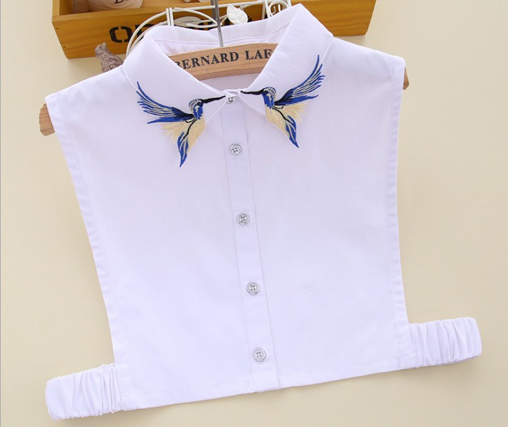 Embroidered detachable collar female shirt fake Glass Drill Hollow Black Ribbon Bowknot Necklace Vest Shirt Fake Collar