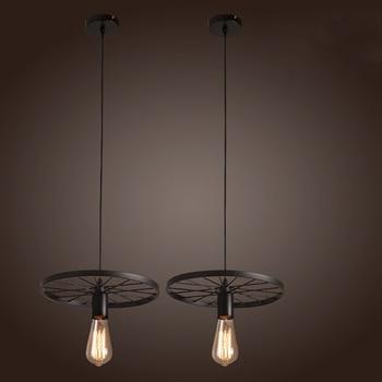 Retro Loft Industrieel Fietswiel Plafondlamp 4