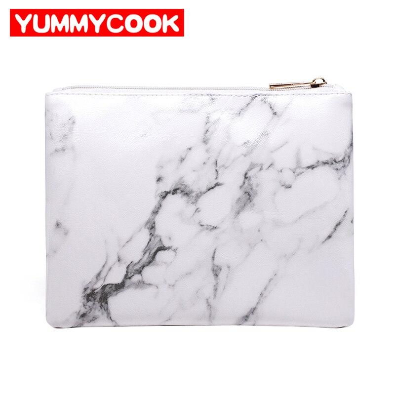 Womens Fashion PU White Marbleing Makeup Brushes Bag Cosmetic Zipper Handbags Organizer Accessories Supplies Gear Stuff Product
