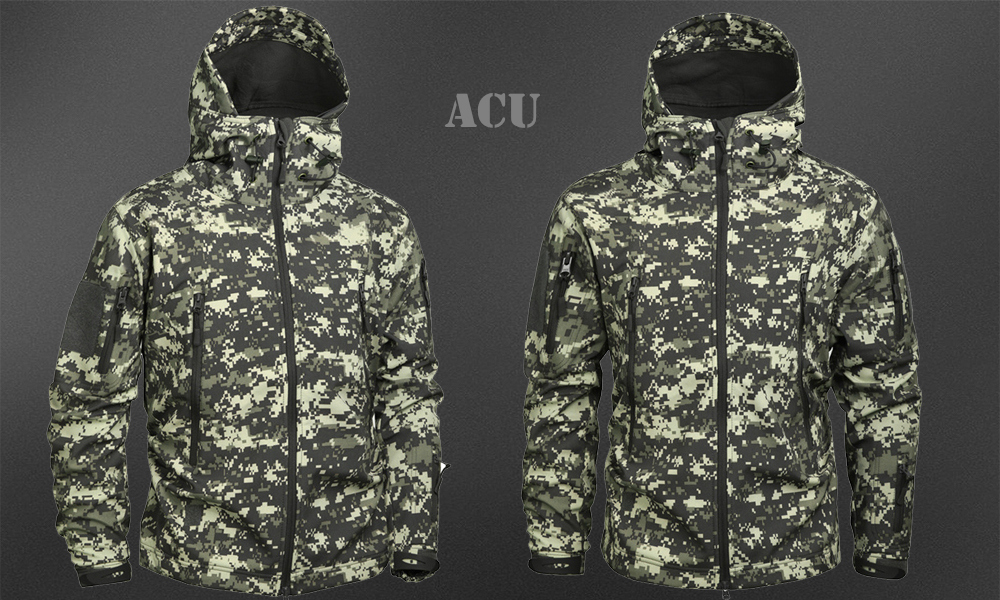 Men's Military Camouflage Fleece Jacket Army Tactical Clothing 36
