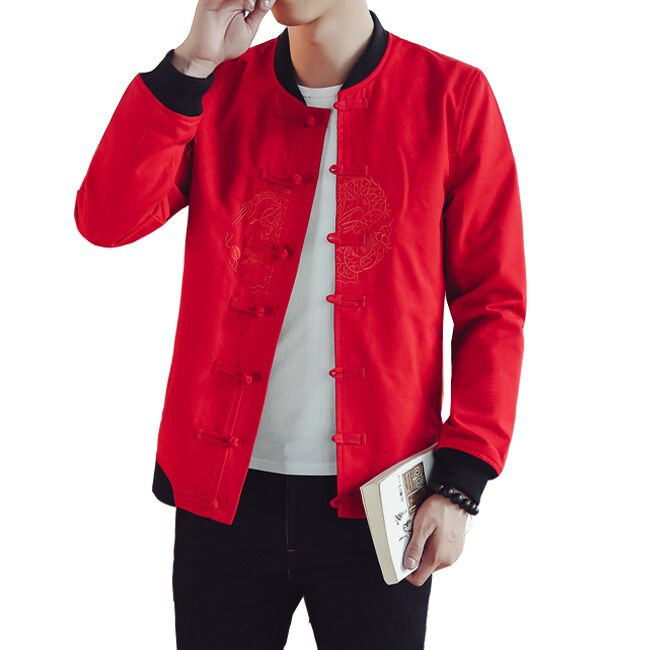 Loldeal homme col rond manches longues col montant Dragon chinois soie disque boucle broderie TangJackets