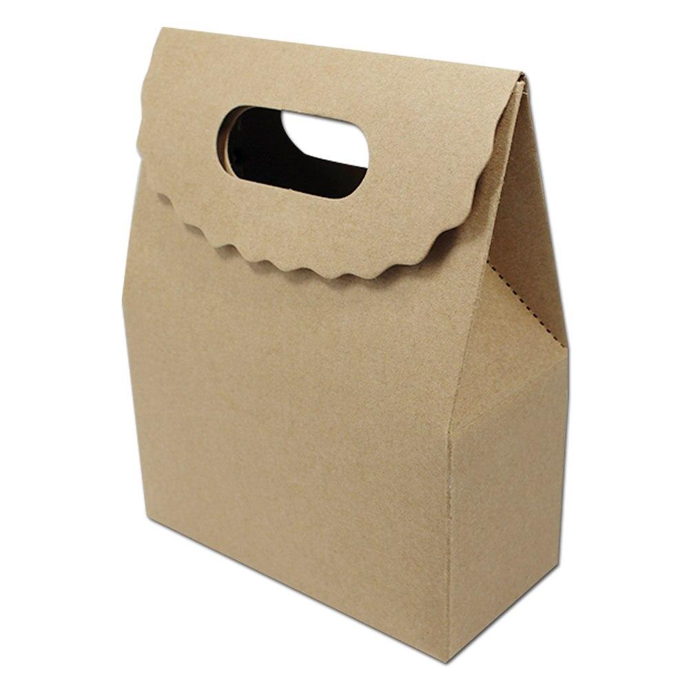 8df61d790449 12.5 16+5cm Brown Handle Box Bag Gift Party Bakery Cookies .