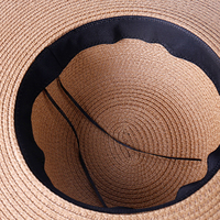 2019 summer sun floppy shade straw hat summer hats for women black band wide side thin gauze patchwork paper woven panama hat