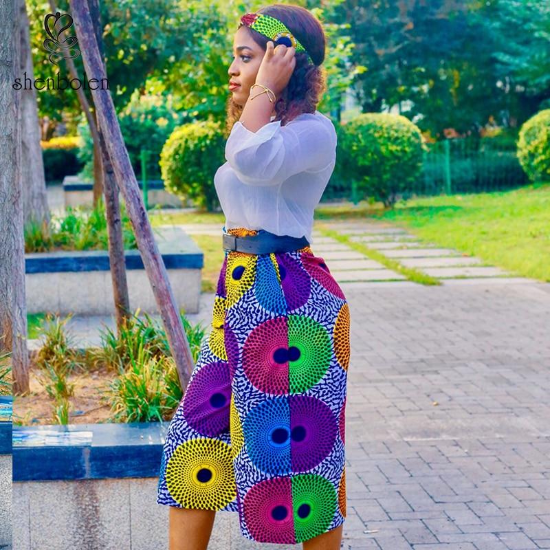 African Wide-leg Pant 2019 News Ladies Clothes Dashiki Print Trousers Wide Legs Bazin Female High Waist Pants Ankara Print Pants