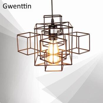 Line Art Geometric Pendant Lamp for Living Room Kitchen Light Fixtures Loft Industrial Decor Suspension Luminaire Hanging Lamps
