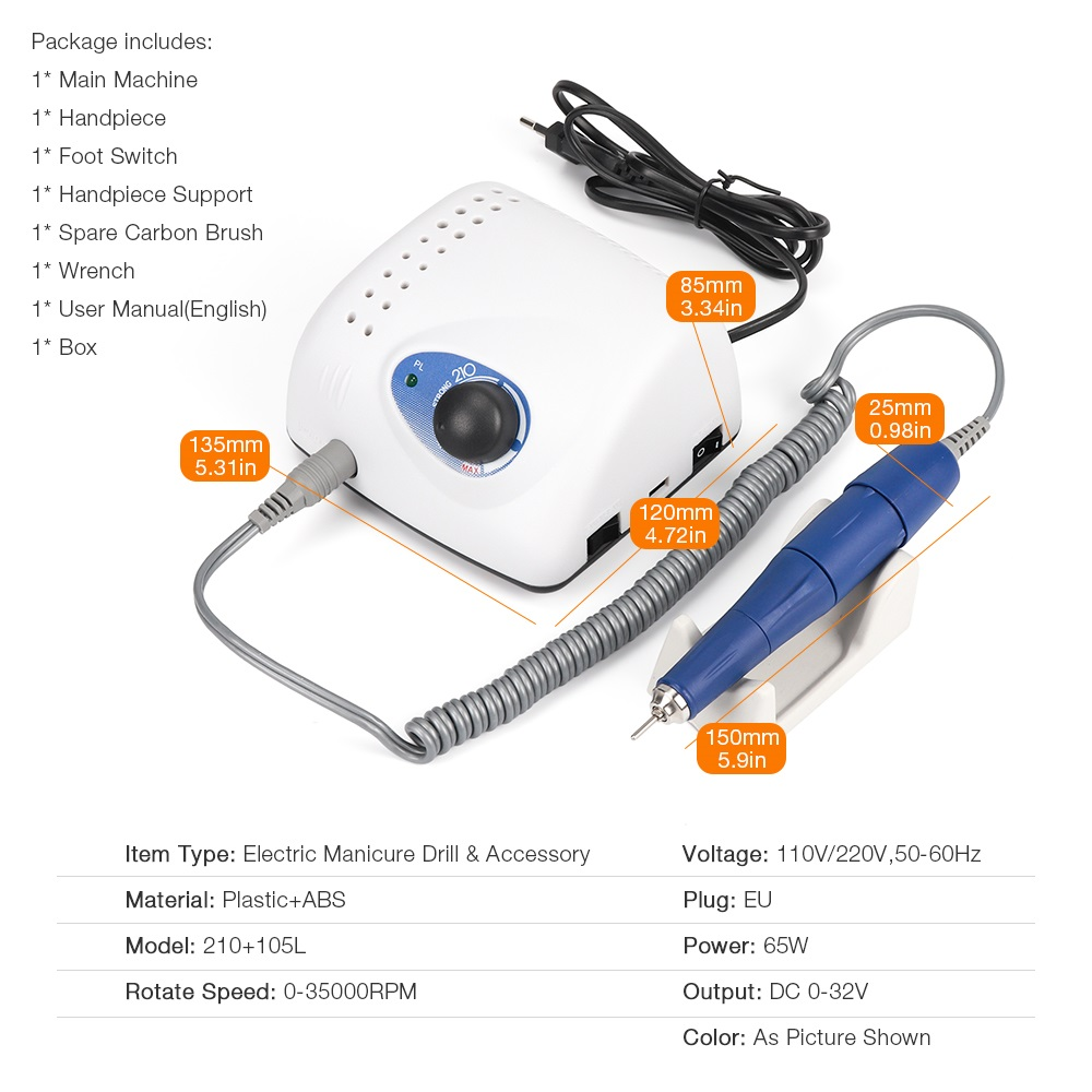 35000RPM new Strong 210 102L 65W Nail Drills Manicure Machine Pedicure Electric File Bits Nails Art Equipment Nail Treatment