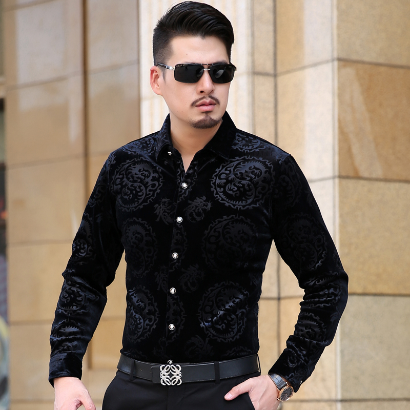KUYOMENS Long Sleeve Men's Shirts Autumn Male British Style Velvet Formal Men Full Sleeve Dress Shirt For Man Slim Masculina Cam-in Casual Shirts from Men's Clothing