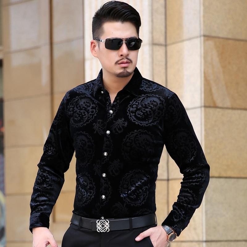 KUYOMENS Long Sleeve Men's Shirts Autumn Male British Style Velvet Formal Men Full Sleeve Dress Shirt For Man Slim Masculina Cam
