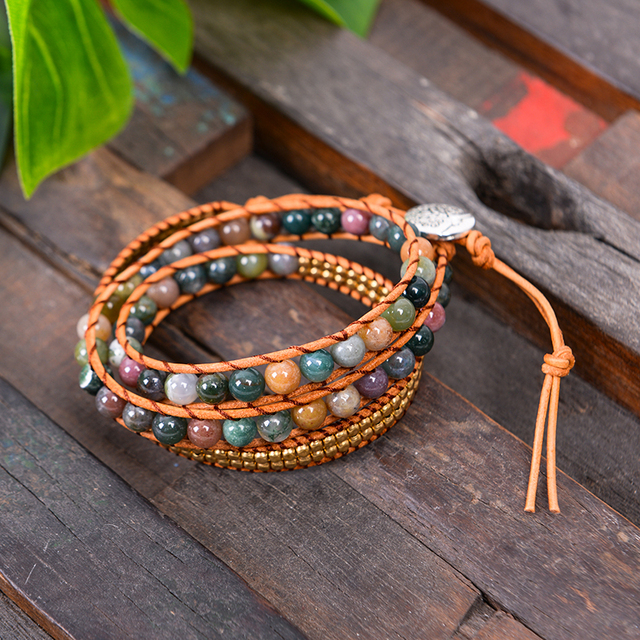 Leather Bloodstone Mala Beads 1