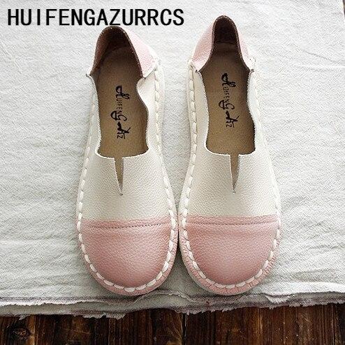 HUIFENGAZURRCS ręcznie robione oryginalny skóra bydlęca osobowość miękka podeszwa pojedyncze buty, kobiety retro utworów literackich i artystycznych skórzane buty w Damskie buty typu flats od Buty na  Grupa 1