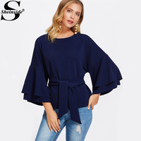 Sheinside Tie Front Layered Flare Sleeve Textured Blouse 2017 Navy Round Neck Long Sleeve Ruffle Elegant