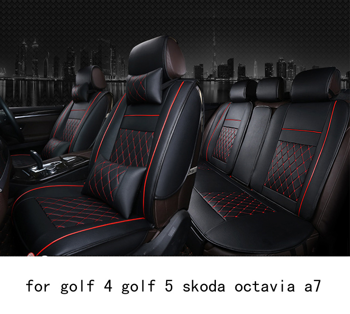 OUZHI easy clean firm grid pu leather car seat cover for vw golf 4 golf 5 skoda octavia a7 front rear universal seat covers car rear trunk security shield cargo cover for volkswagen vw tiguan 2016 2017 2018 high qualit black beige auto accessories