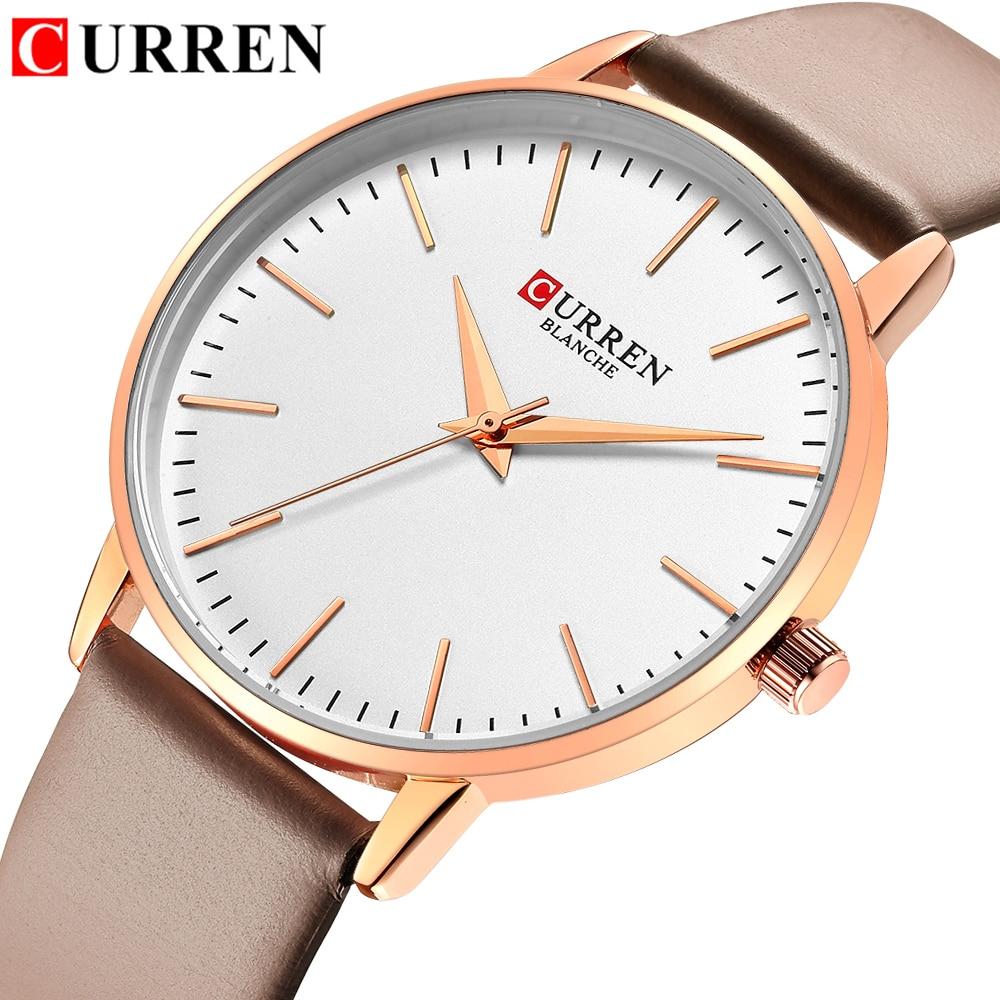 CURREN Fashion Simple Womens Watches Dress Quartz Leather Wristwatch For Ladies Life Waterproof Clock Female Bayan Kol Saati